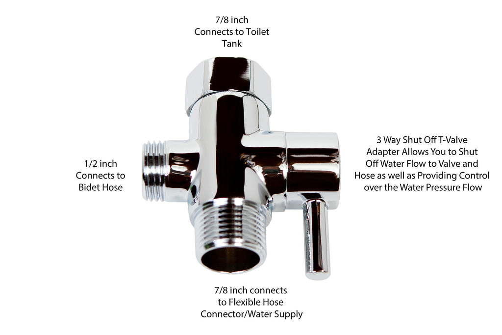 SmarterFresh Brass Chrome Finish 3 Way Shut Off T-Valve Adapter