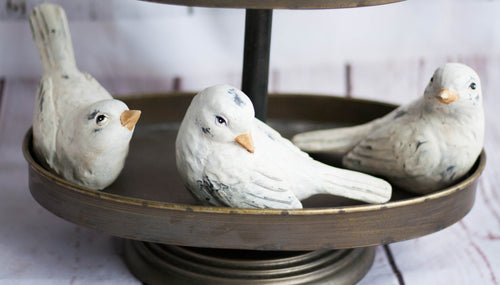 Distressed White Resin Bird
