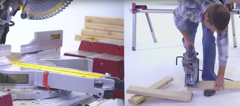 CutHub industrial miter saw table in action next to traditional skill saw