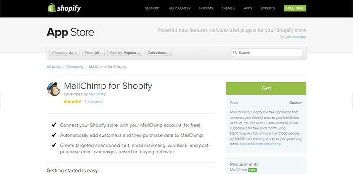 mailchimp shopify Apps