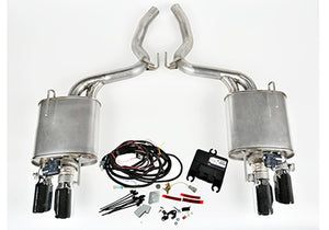 2015-2017 Mustang 2.3L EcoBoost ROUSH Quad Tip Active Exhaust Kit (Convertible)