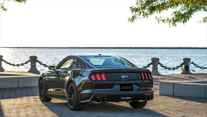"Corsa Sport 3"" Catback Exhaust System with Quad 4.0"" Black Tips - 2015+ Ford Mustang GT (V8 5.0L Coupe)"