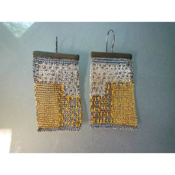 Milena Zu Silver and Gold thread Tapestry Earrings