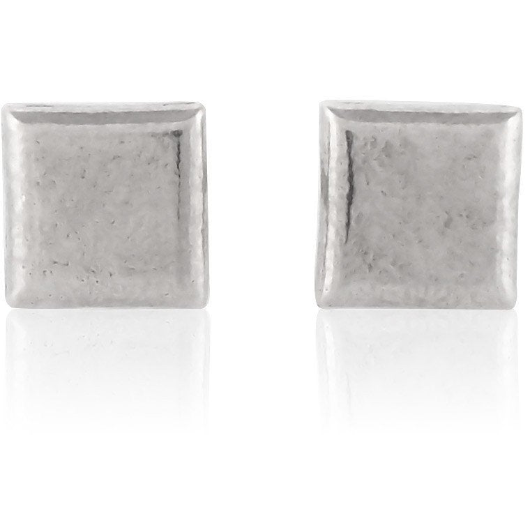 Silver square button earrings