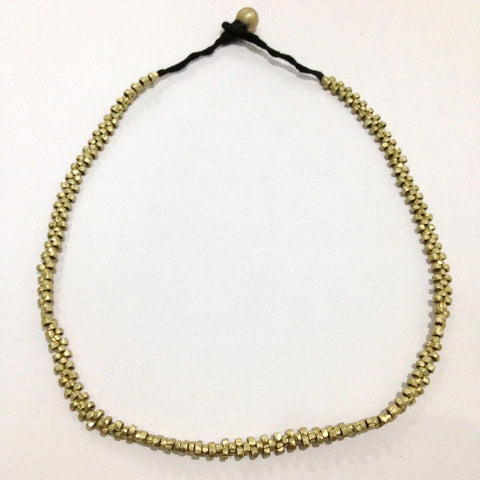 Short, thin brass necklace