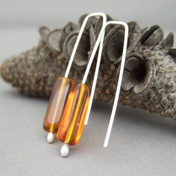 Gingernut Brown Tube Sterling Silver Earrings