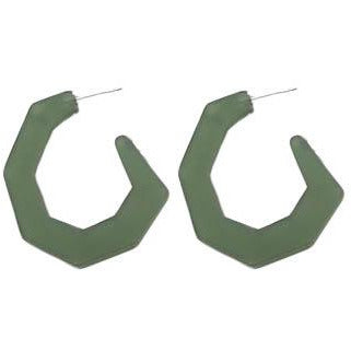 Resin Earrings - Matte Green