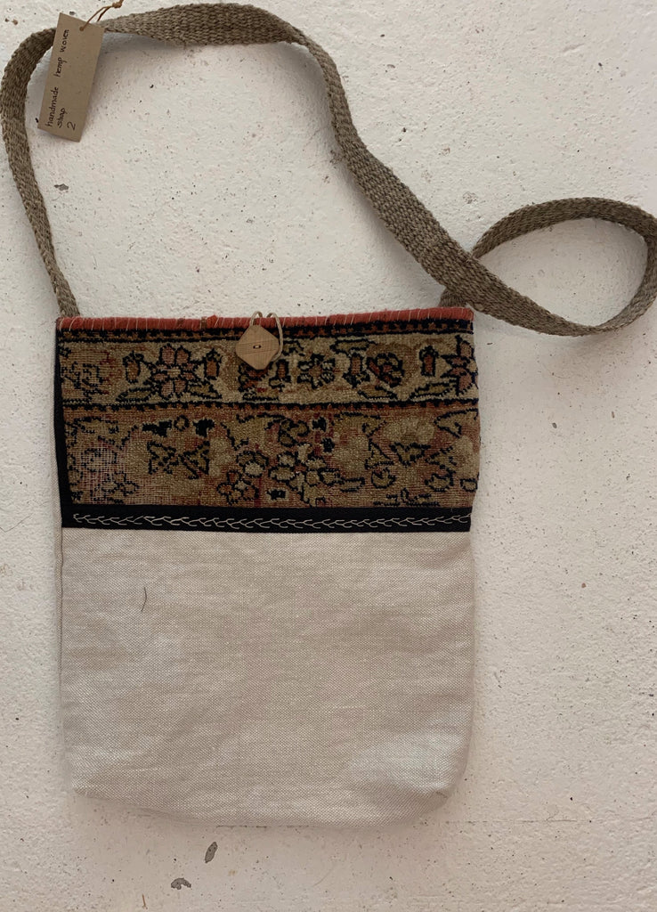 Linen and antique persian carpet cross body bag