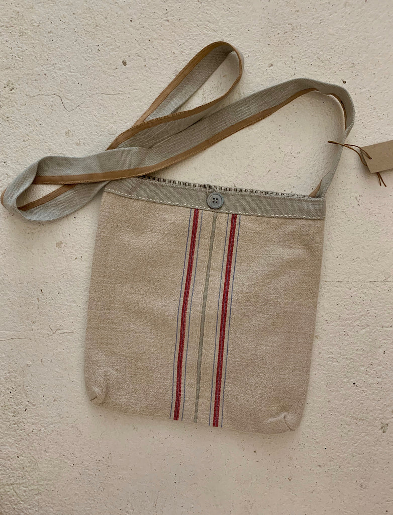 Feed sack cross body bag