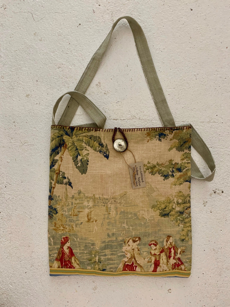Vintage textiles etherial figures cross body bag