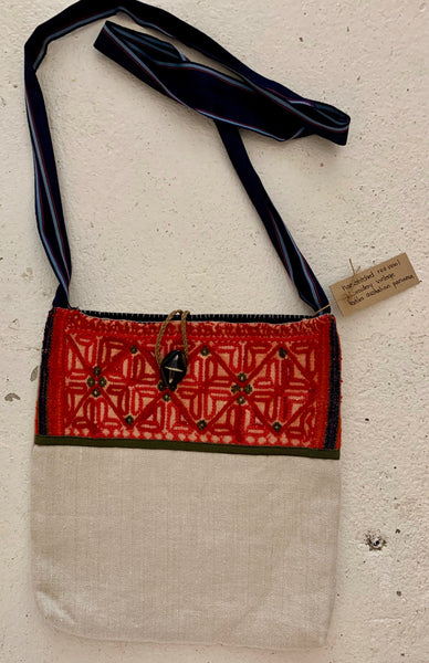 Vintage red wool embroidery cross body bag