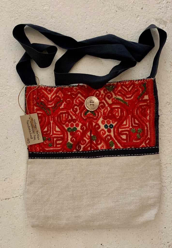 Red Wool Embroidery with Australian Hat Band Strap from 1940s cross body bag