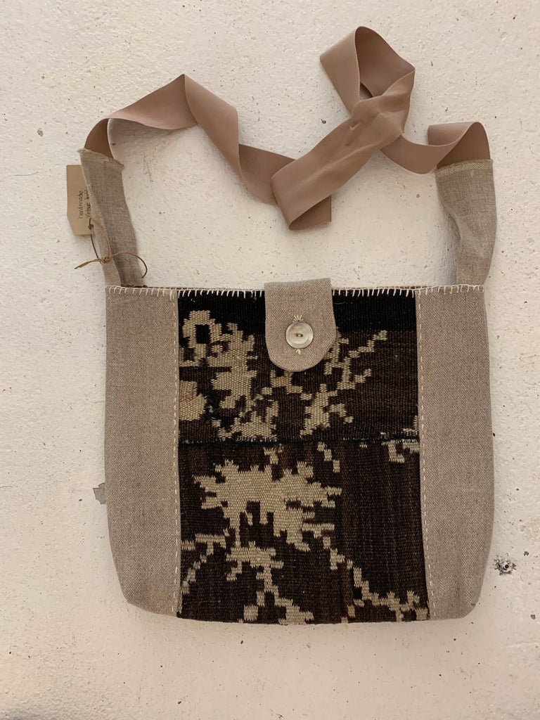 Kilim/linen cross body bag