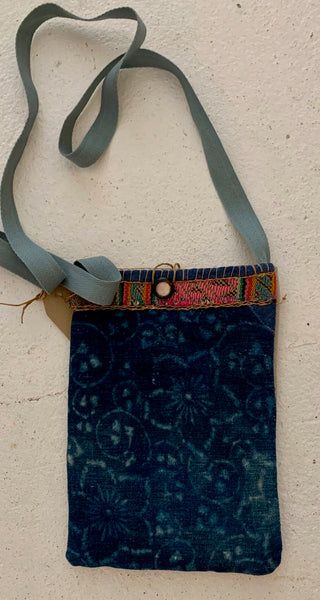 Vintage japanese and peruvian textiles cross body bag