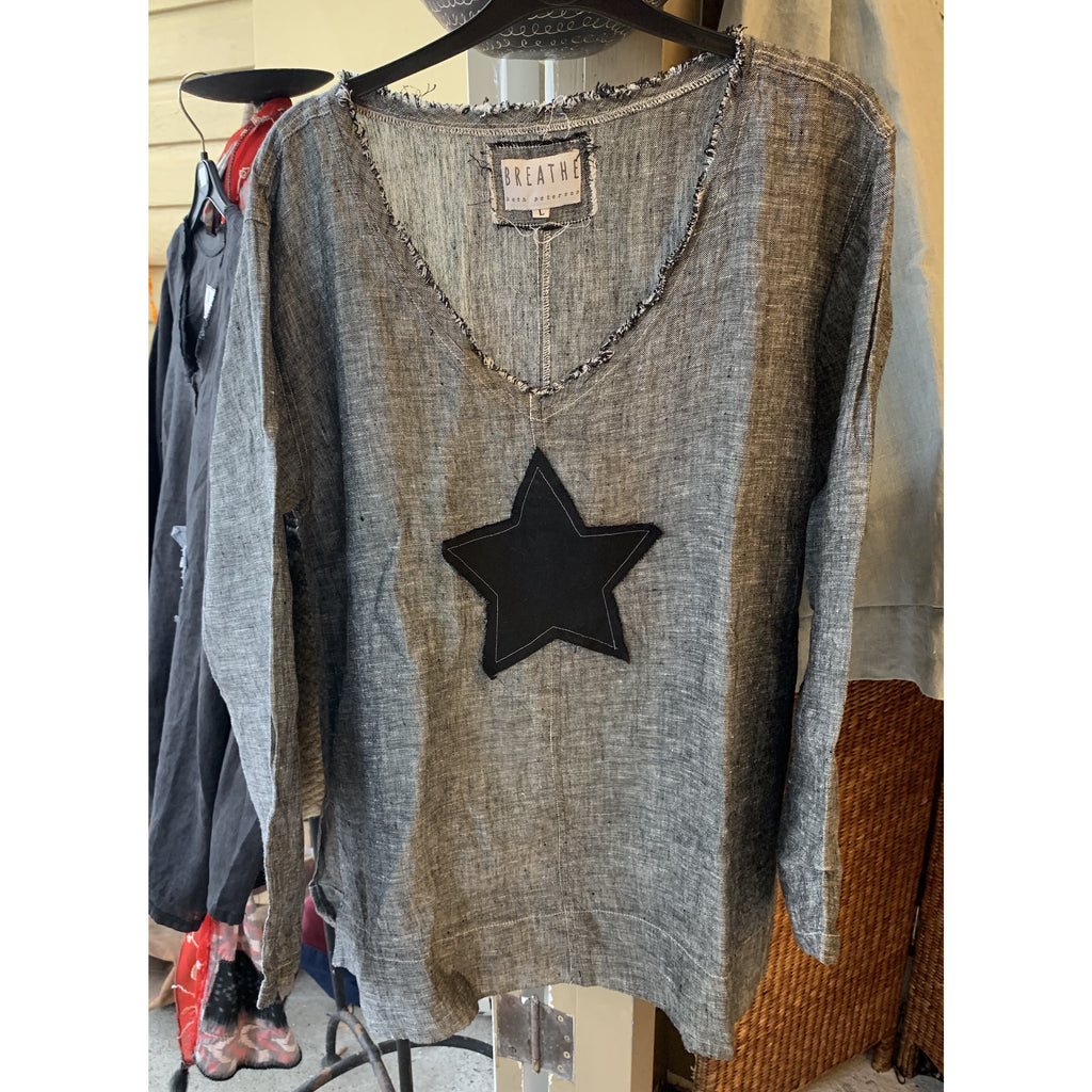 Black Marl Linen Top - Ellie with Star