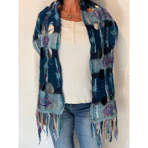 Blue felted wool oversized scarf