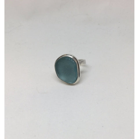 Seaglass and Silver Expandable Ring