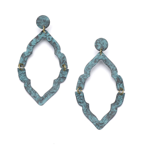 NIHIRA ASHRAM WINDOW EARRING - TEAL