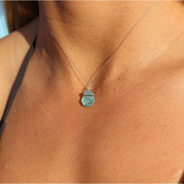 Seaglass and Silver Necklace