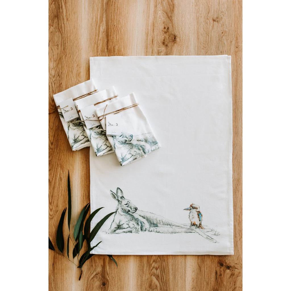 Kangaroo and Kookaburra Tea Towel