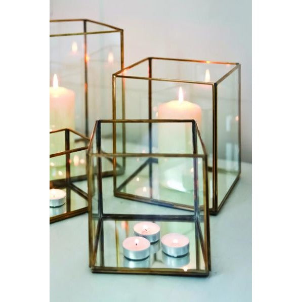 Glass and brass lantern box