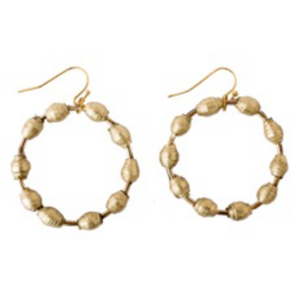 Gold Paper Hoops Earrings
