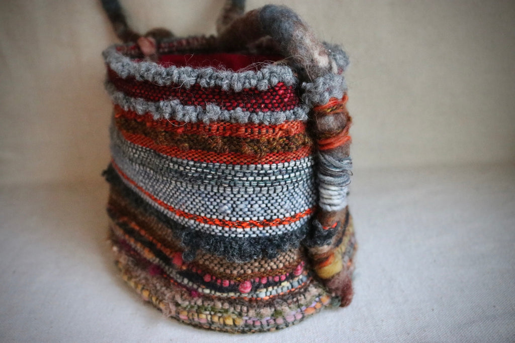 Woven and felted wool and silk bag