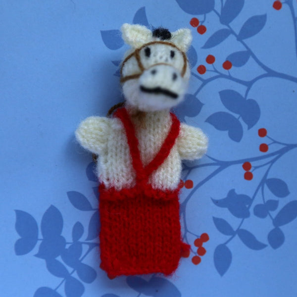 Horse with Red Vest Finger Puppet