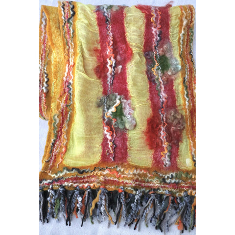 Red, gold and multi scarf