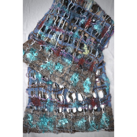 Turquoise and blue felted scarf