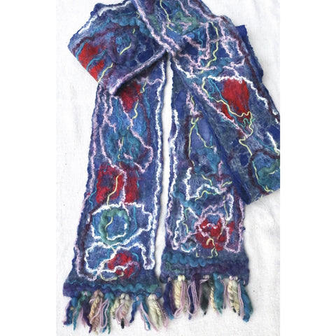 Blue felted scarf