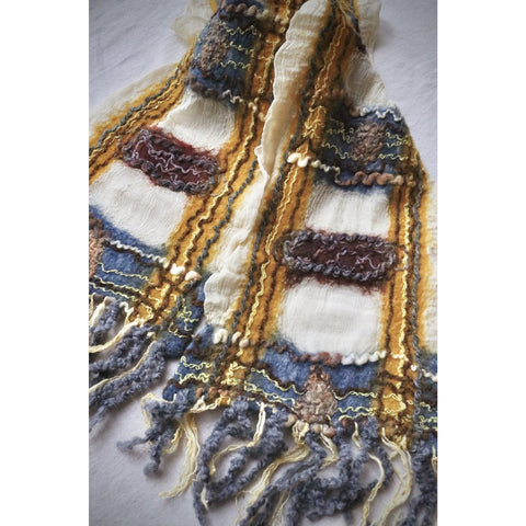 Gold, Rust and blue scarf