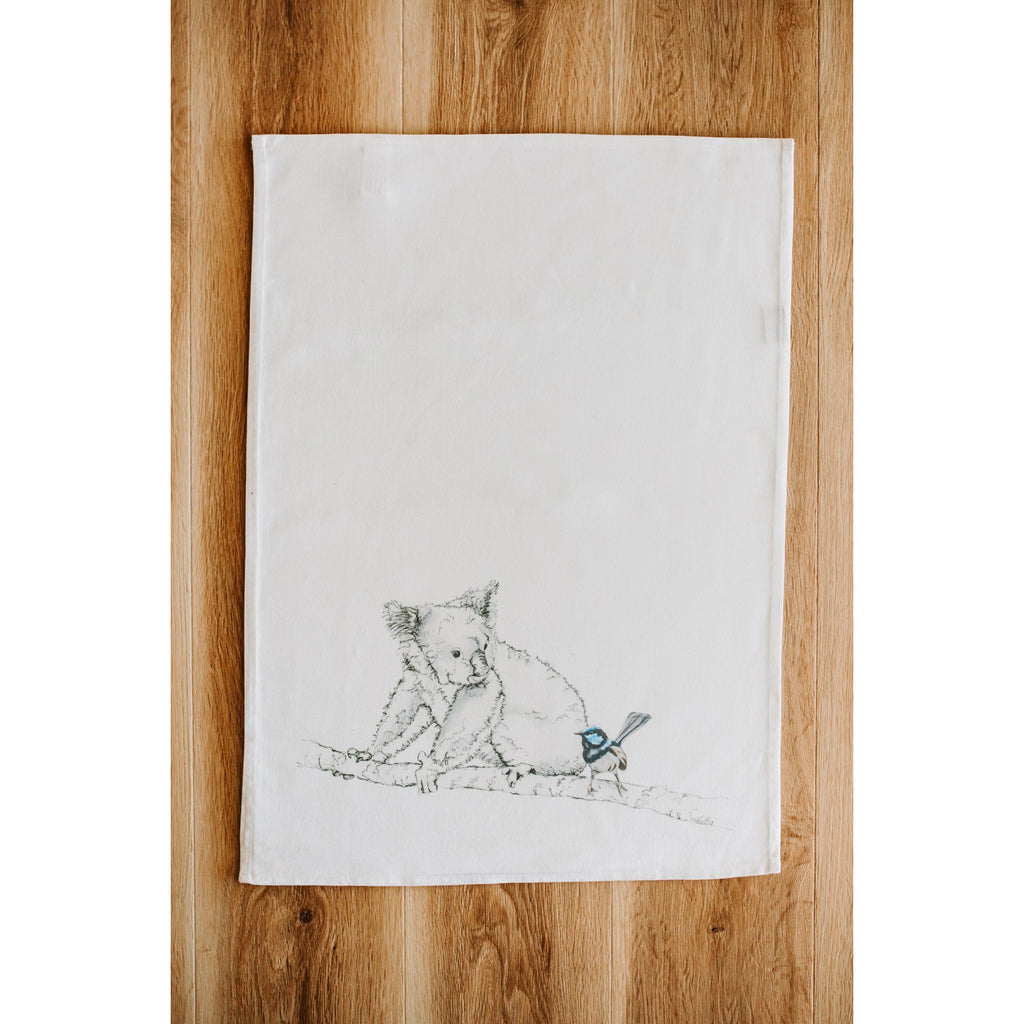 Koala and Wren Tea Towel