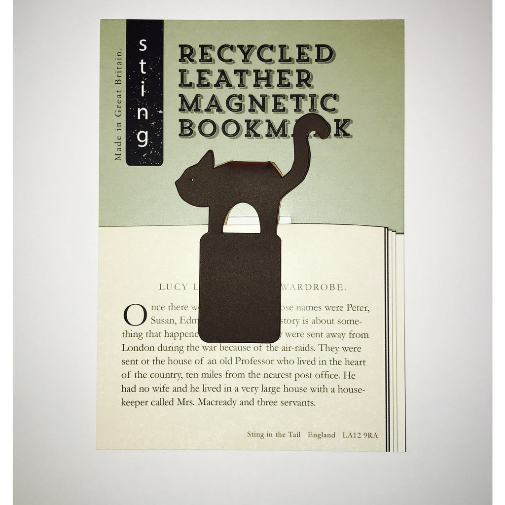 Leather Cat Magnetic bookmark