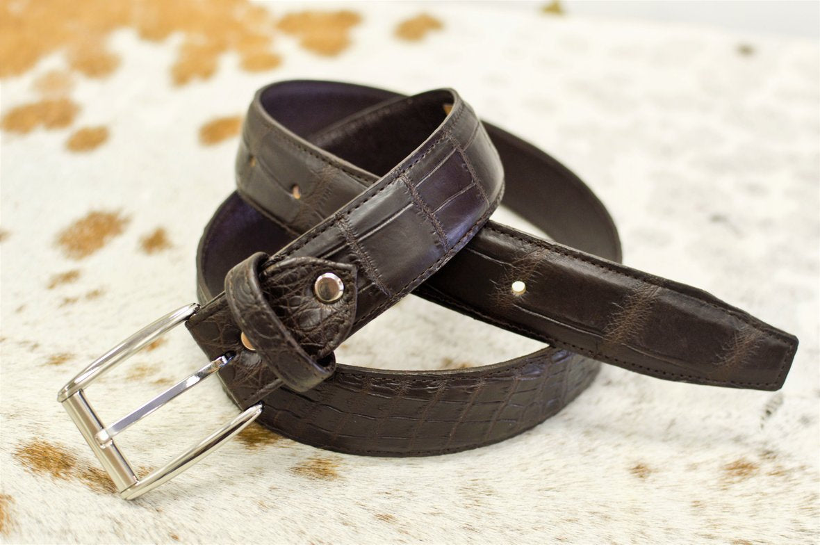 QBS crocodile leather belt
