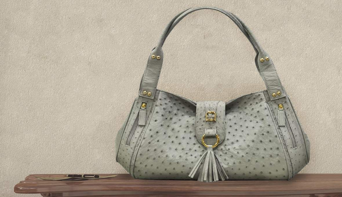 Quinton & Brother QBS ostrich handbag