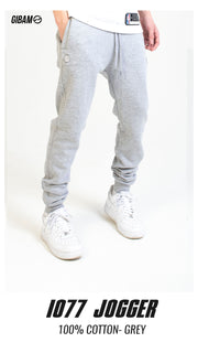 1077 Cotton Grey Patch Logo Jogger