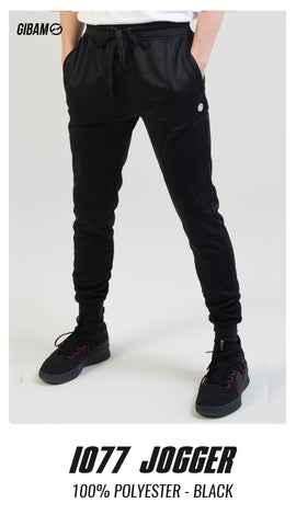 1077 Polyester Black Patch Logo Jogger
