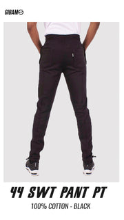 44 Cotton Black Patch Logo Sweatpant PT