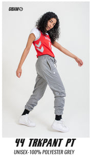 44 Polyester Grey Patch Logo Track Pant PT