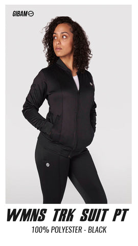 Womens 44 Polyester Black Patch Logo Tracksuit PT