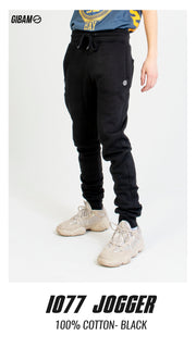 1077 Cotton Black Patch Logo Jogger