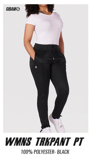 Womens 44 Polyester Black Patch Logo Trackpant  PT