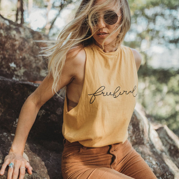 Ladies Freebird Muscle Tank - Golden