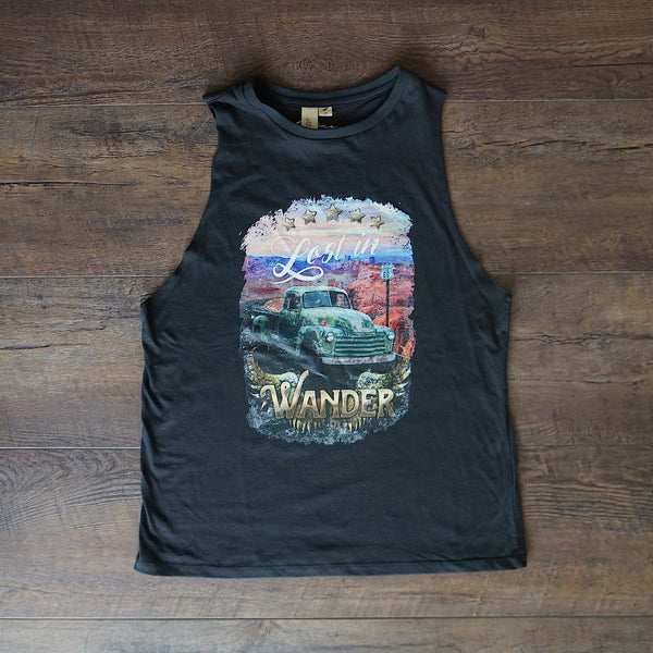 Ladies Lost in Wander Muscle Tank - Black