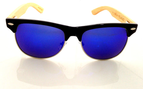 Wayfarer style sunglasses with real bamboo earpieces. Reflecting dark blue