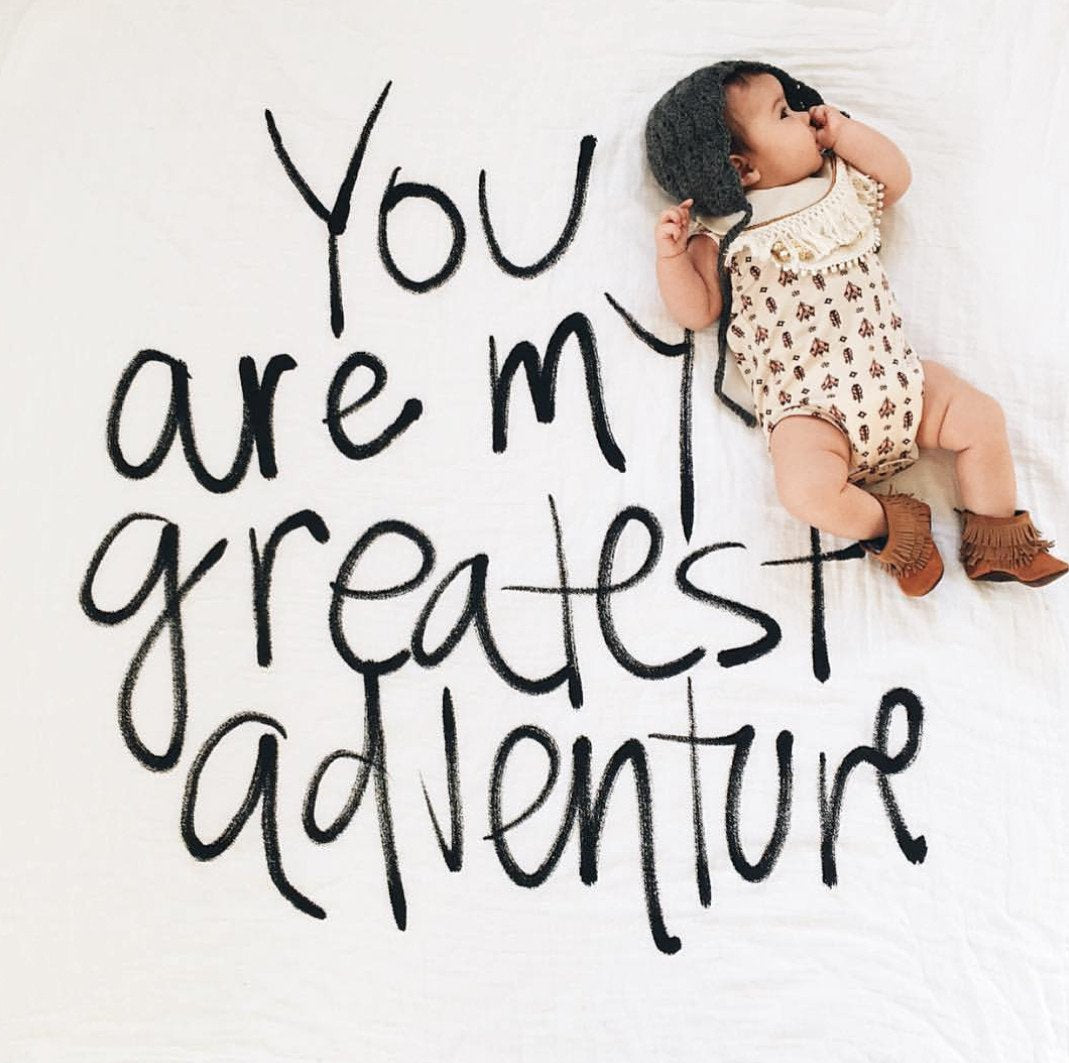 Organic Cotton Muslin Swaddle in Tapestry Collection: You are My Greatest Adventure