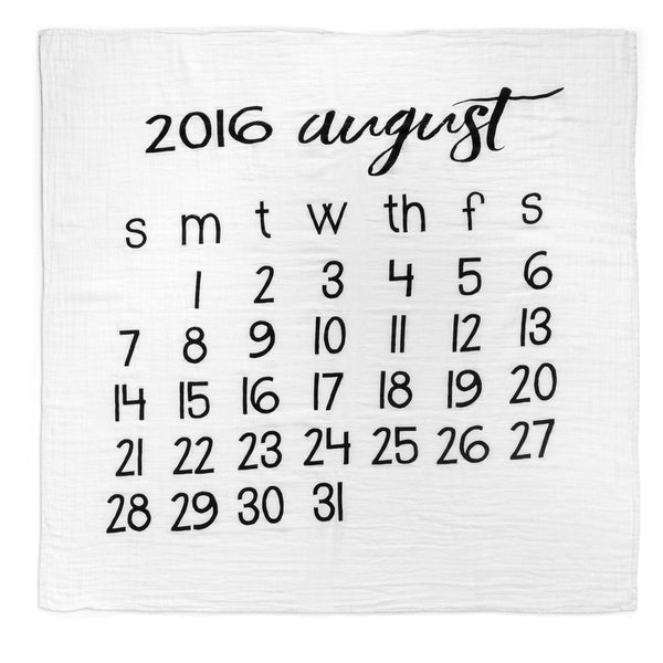 Organic Cotton Muslin Swaddle in Calendar Collection: August 2016