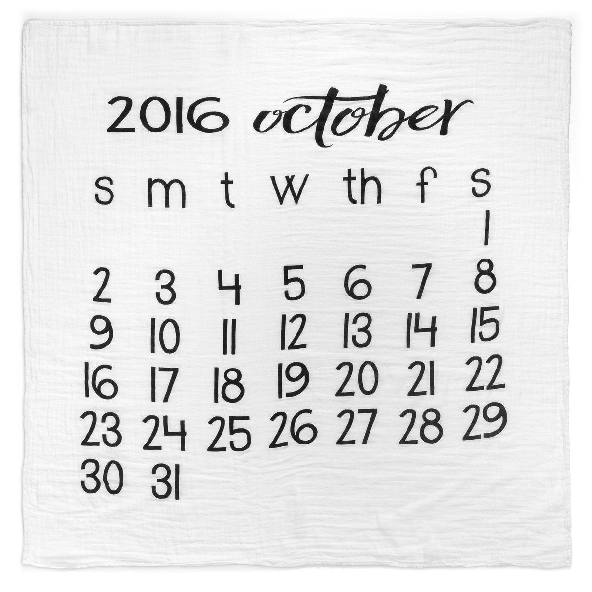 Organic Cotton Muslin Swaddle in Calendar Collection: October 2016