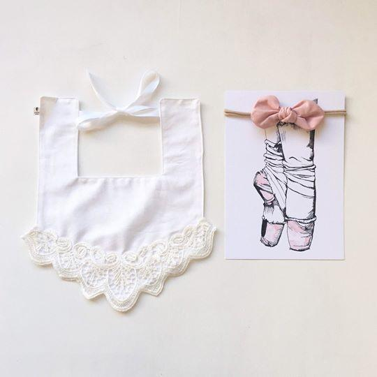 White Lace Wing Luxe Bib